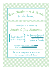 Invitation proof. Yes, I designed my own shower invitation. No, I don't feel lame about that  - it was cheaper than buying them and I was able to use up some of my card stock and lined envelopes!