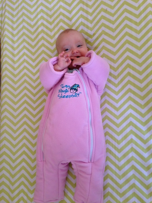 Sabine all happy and smiles after a long sleep in her Magic Sleep Suit.