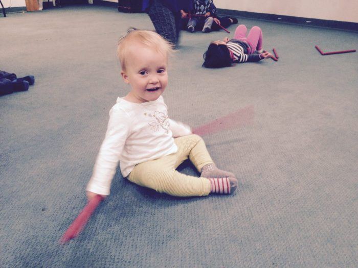 We started in a new music class and Sabine loves it.