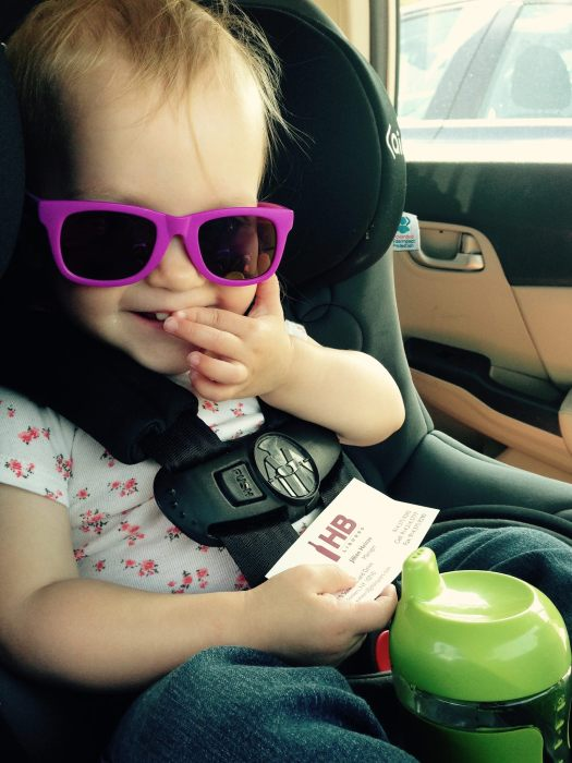 Someone is finally big enough to wear sunglasses!